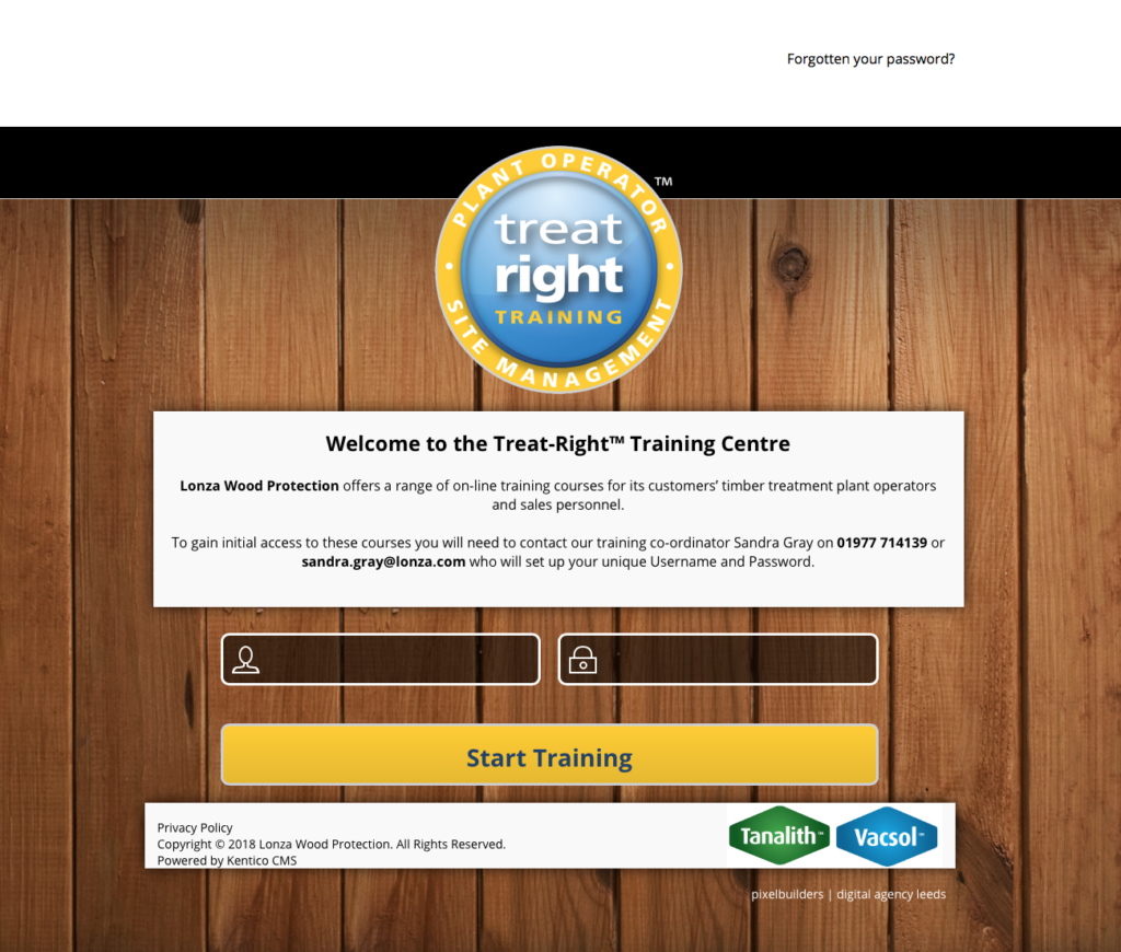 Treat right online training home page